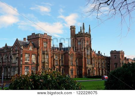 Belfast, United Kingdom - 22 february 2016: The Queens's University Belfast (United Kingdom) in sunny day