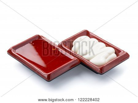 Thai Sauce And Mayonnaise Isolated On White Background