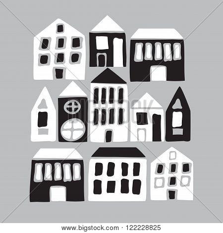 Cartoon Black And White Houses