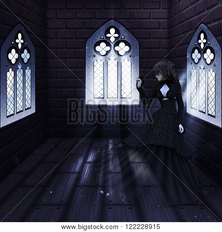 Haunted Interior And Ghost