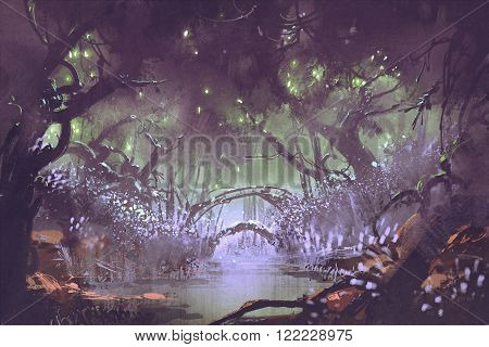 enchanted forest, fantasy landscape, illustration digital painting