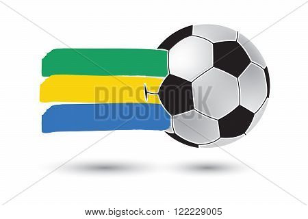 Soccer Ball And Gabon Flag With Colored Hand Drawn Lines