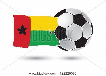 Soccer Ball And Guinea Bissau Flag With Colored Hand Drawn Lines