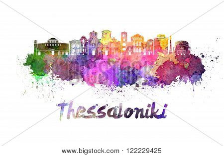 Thessaloniki skyline in watercolor splatters with clipping path