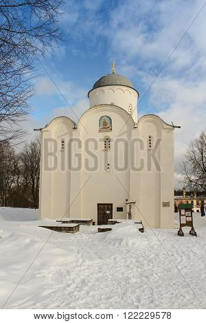 Staraya Ladoga, Russia - 23 February, Facade of the Church of St. George, 23 February 2016. Tourist places in the great ancient route from the Vikings to the Greeks.Staroladozhsky Holy Assumption nunnery. Gold ring of Russia.