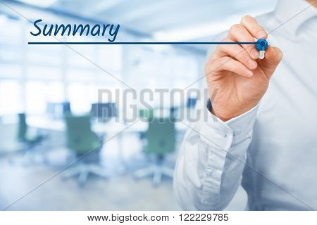 Summary heading - background template for business presentation. Office in background.