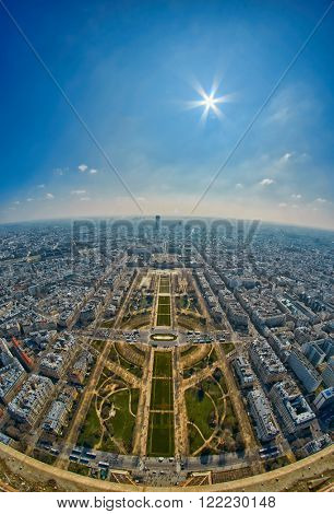 Panoramic View from the top of Eiffel Tower, Paris, France