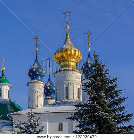 Domes of the church in the Monastery of St. Jacob Saviour , Rostov the Great, Russia