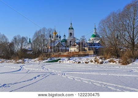 View of the Monastery of St. Jacob Saviour from the Nero Lake, Rostov Great, Russia