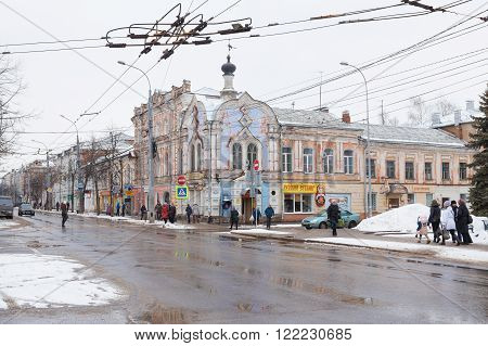 Rybinsk, Russia - March 6, 2016: People on the streets of the old center of the city. Rybinsk is one of the oldest Slavic settlements on the Volga River. Currently popular touristic landmark.