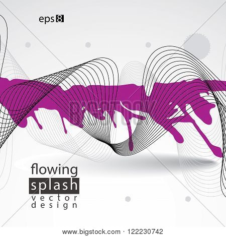 Splattered web design element art ink blob bright paintbrush drawing with flowing lines. Light smudge background.
