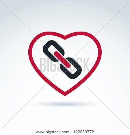 Vector red heart with link symbol love relationship idea. Marriage bond conceptual icon.
