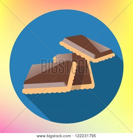 chocolate cracker cookie flat long shadow style vector icon. Cookie glazed chocolate illustration. Chocolate shortbread pictogram. Chocolate cookies sign.