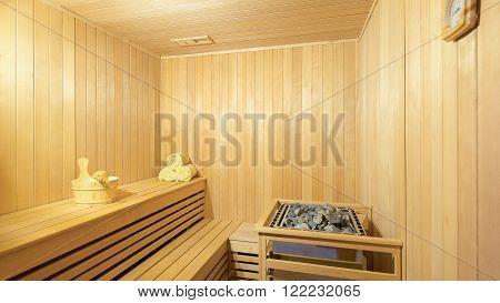 Large standard-design classic wooden sauna interior in public building