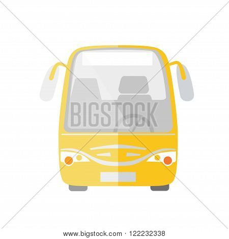 Yellow passanger bus taxi service flat vector