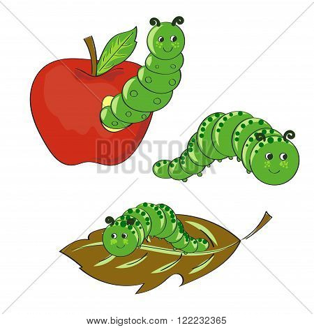 Cute caterpillars set. Hand drawn vector illustrations isolated on white background.