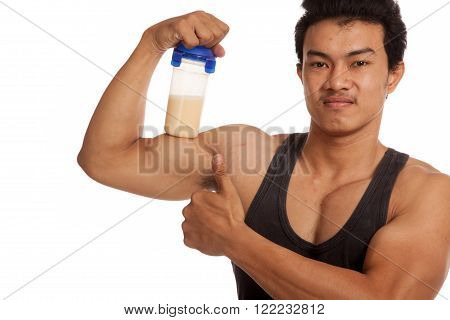 Muscular Asian Man  Flexing Biceps And Thumbs Up With Whey Protein