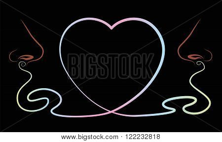 Noses that smell something lovely, depicted as a heart symbol between them. Isolated vector illustration on black background.