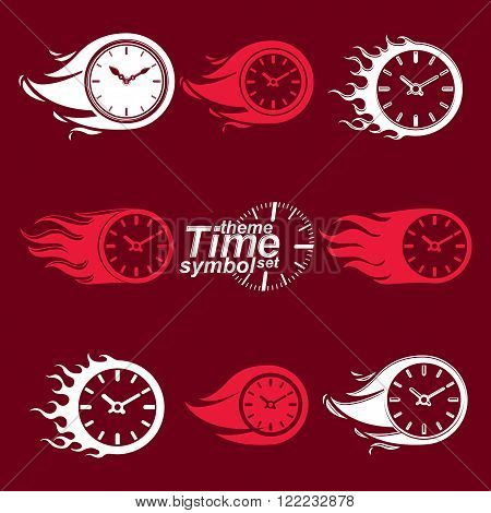 Time Is Running Out Concept, Vector Invert Timers With Burning Flame. Eps 8 Clear Vector Illustratio