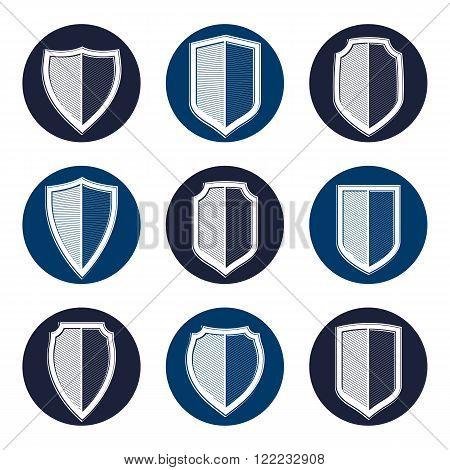 Set Of Stylized Coat Of Arms, Decorative Vector Defense Shields Collection. Heraldic Symbols, Protec