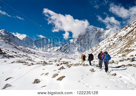 Sagarmatha National Park, Nepal, March 14th 2015. A group of trekkers and sherpas is going back from Everest Base Camp, in Nepal