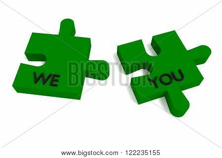 Green Puzzle we and you on white background