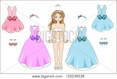 the little girl in a bathing suit and replaceable ball dresses