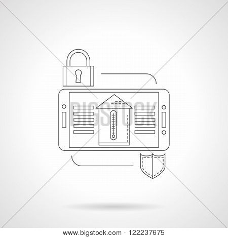 Home security system detail flat line vector icon