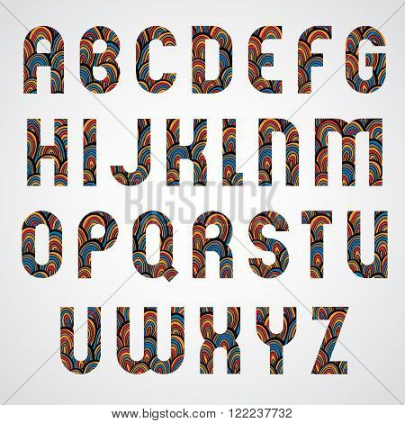 Pattern ornamental colorful abstract font upper case letters.