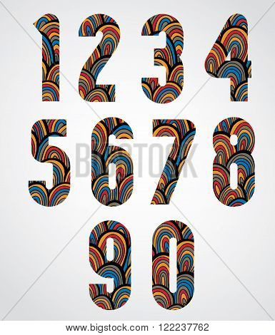 Pattern ornamental colorful abstract numbers, decorative numeration