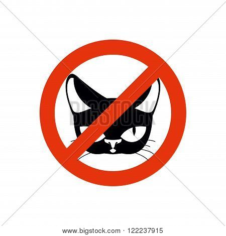 Stop Cat. Pet Forbidden. Frozen Silhouette Cat Head. Emblem Against Home Beast. Red Forbidding Chara