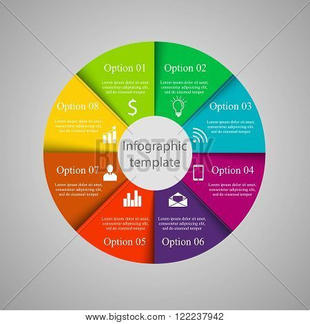 Vector circle infographic template. Template for cycling diagram, graph, presentation and round chart. Business concept with 8 options, parts, steps or processes. Abstract background