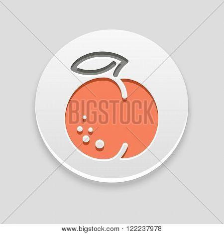 Peach icon. Fruit vector illustration eps 10