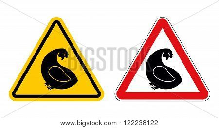 Chicken Warning Sign Of Attention. Danger Of  Yellow Chicken. Farm Bird With Red Triangle. Set Of Ro