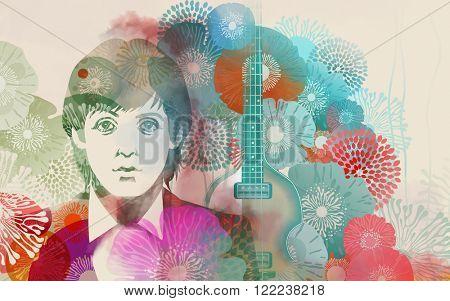 MARCH 13 2016: Illustration of Paul McCartney - stock illustration
