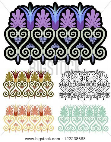 Decorative border motif with variations. Art Nouveau style inspired by Ancient Greek ornament.