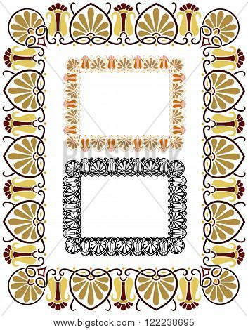 Decorative border in Art Nouveau style, and Seventies colors. Extra retro.