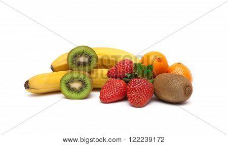 berries and fresh fruit isolated on white background. horizontal photo