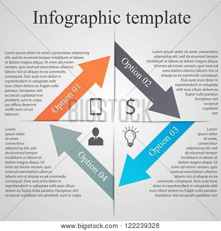 Arrow Infographic template. Modern futuristic concept with text and 4 options