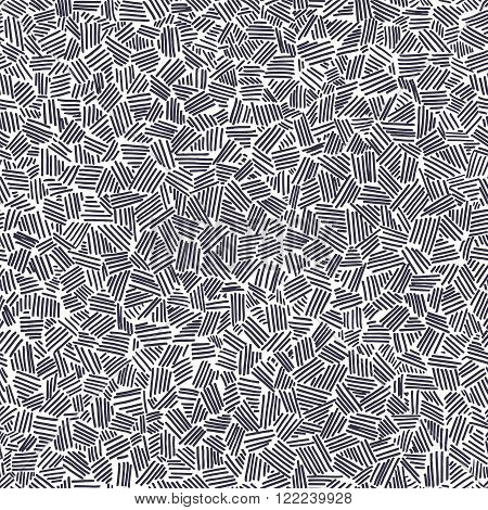 Vector seamless pattern with interweaving of lines. Traditional hatching of architectural hand drawn graphic for print and surface design.