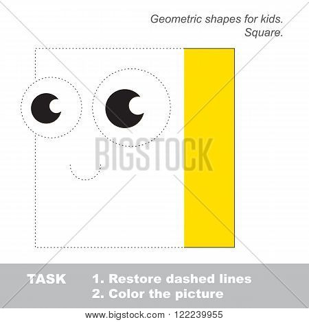 Square shape in vector to be traced. Restore dashed line and color the picture. Trace game for children.