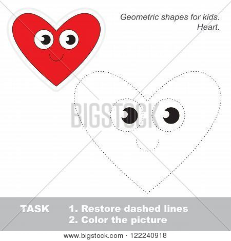 Heart shape in vector to be traced. Restore dashed line and color the picture. Trace game for children.