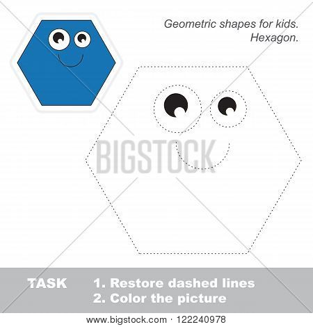 Hexagon in vector to be traced. Restore dashed line and color the picture. Trace game for children.