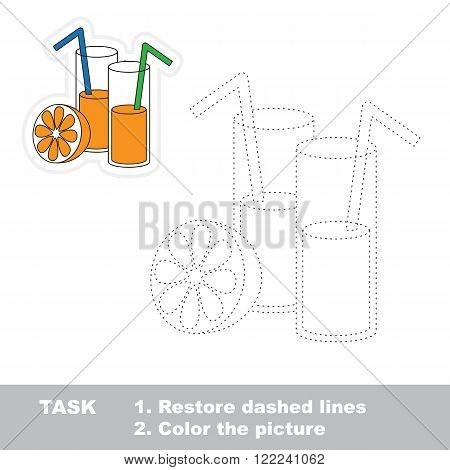 Juice in vector to be traced. Restore dashed line and color the picture. Trace game for children.
