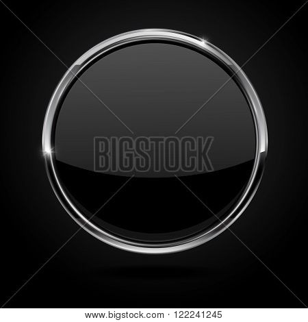 Black button with metal chrome frame. Vector illustration isolated on black background