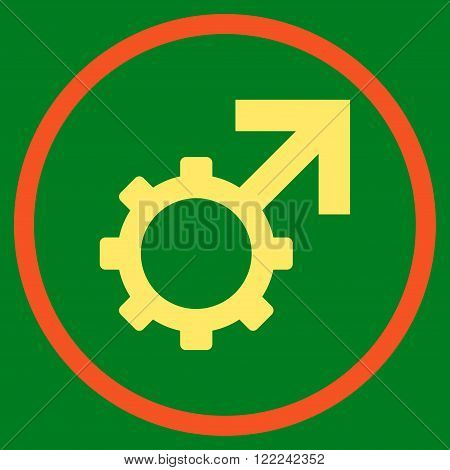 Technological Potence vector bicolor icon. Image style is a flat icon symbol inside a circle, orange and yellow colors, green background.