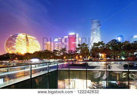 Night view of China in Hangzhou Modern Architecture