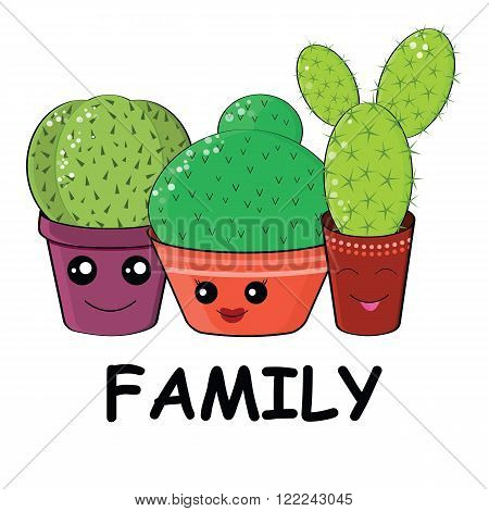 Hilarious Family Of Cacti On A White Background.