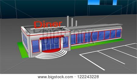 Diner cafe icons and cliparts. Elements of the city..