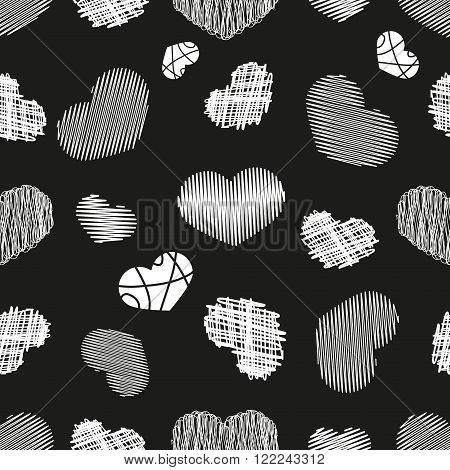 Seamless Pattern with Stylized hand-drawn Scribble Hearts. St. Valentine's Day or Weddings Design Element. Doodle Sketch Childlike Style. Vector background.